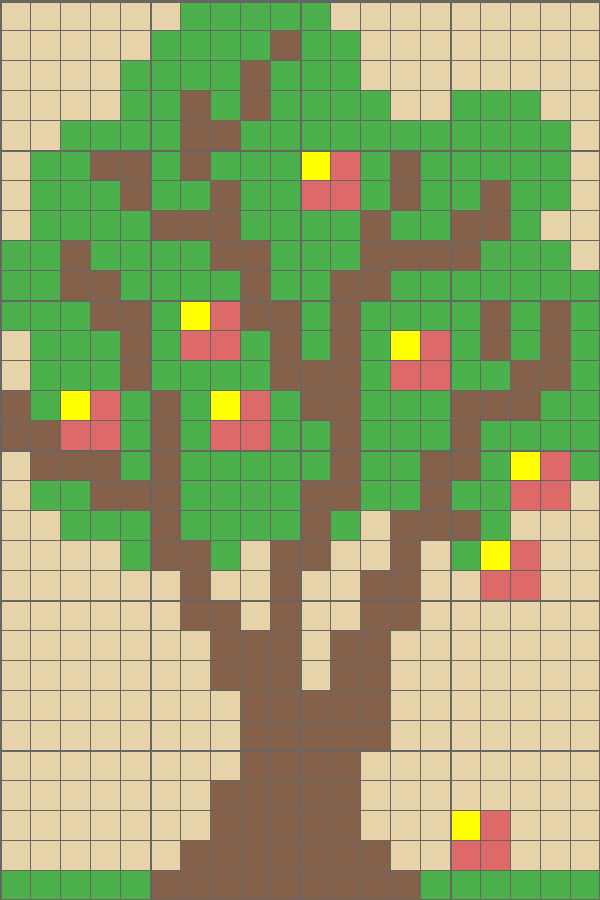 Solution for color CrossMe Level 4.15 - Apple Tree